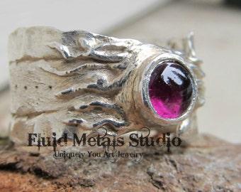 Renee  rhodolite garnet fine silver ring size 7.5 R0016