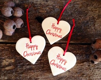 Handmade Christmas Decorations - Set of Three Red and White Hearts, Happy Christmas wording