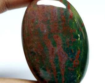 Natural Blood Stone Loose Cabochon Gemstone- Size 41x27x7 mm - Unheated Red Blood Stone Cabochon
