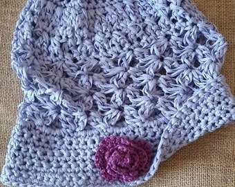 baby hat with ruffle and flower