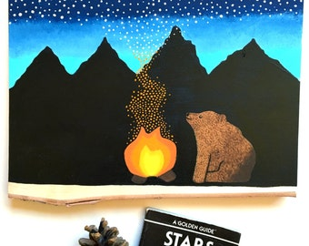Sparkgazing - Bear Campfire Wood Slice Painting