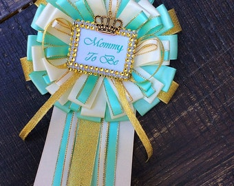 Mint and gold mommy to be pin-mint and gold Baby shower - mint and gold baby shower- green mint baby shower-Mommy to be corsage- mint and go