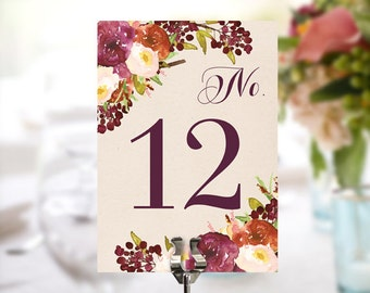 Table Numbers - Rustic Burgundy Wedding Table Numbers - 5x7 Wedding Table Signs - Wedding Decor - Wedding - Instant Download