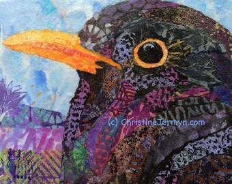Irish Blackbird -  Fine Art Mixed Media Collage - hand painted paper collage on a cradled wood panel