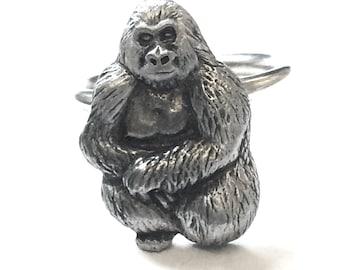 Gorilla Scarf Ring, English Pewter, Handmade in England, h, Monkey