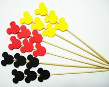 Set of 24Pcs - Black, Red & Yellow MIX Mickey Mouse on Skewer or Stir Stick - Birthday, Baby Showers, Weddings, Drink, Party Stir Stick