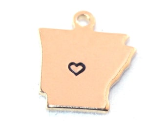 2x Gold Plated Arkansas State Charms w/ Hearts - M070/H-AR