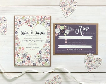 Love Heart Wedding Invitation and RSVP, Personalised Wedding Stationery, Invite, Rustic Wedding