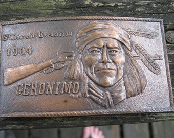 Geronimo Copper Colored Belt Buckle, St. Louis, MO. Exposition 1904, Commemorative Belt Buckle, 4 By 2 1/4 Inches,