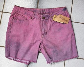 Upcycled Ladies Denim Dyed Shorts  size 12 AUS