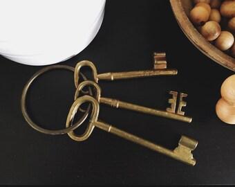 Large Vintage Brass Keys