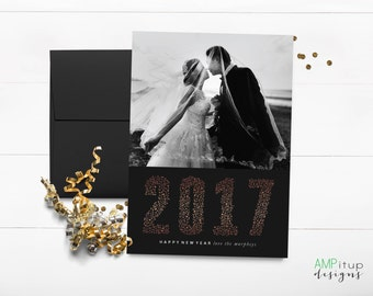 New Year's 2017 Confetti Photo Card - New Year's Card - New Year Photo Card - Faux Gold Foil and Black - New Year Holiday Card - Printable