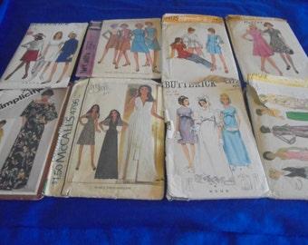 All Sz 14 U Pick 1960s  1970s Sewing Patterns  Jiffy Muu Muu Wedding Bridal Minidress Tunic