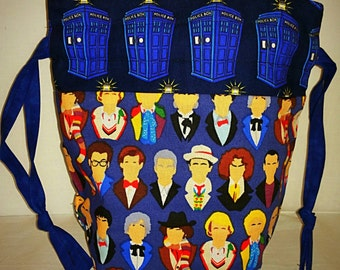 Sock to Shawl WIP Project Bag, Knitting, Crochet, Drawstring Project Bag, Wedge Styled Bag, The Faces of the Doctor Who / Tardi