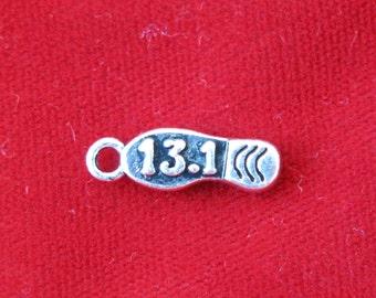 """BULK! 30pc """"half marathon"""" charms in antique silver (BC794B)"""