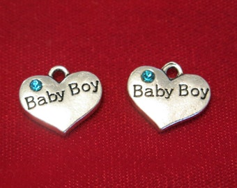 "5pc ""Baby boy"" charms in antique silver style (BC830)"
