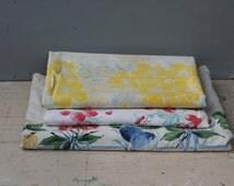 Vintage Tablecloths / Lot of Three Mid-Century Tablecloths / Red, Yellow and Blue Vintage Tablecloths / Vintage Wedding or Shower Decor