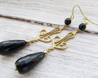 Black onyx earrings, art nouveau earrings, golden filigree earrings, dangle earrings, gemstone jewelry, vintage style jewelry, gift for her