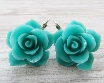 Rose earrings, turquoise earrings, dangle earrings, flower earrings, romantic jewelry, statement jewelry, italian jewelry, gioielli