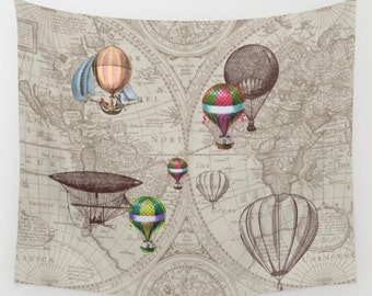 Hot Air Balloons Wall Tapestry -  Wall hanging - antique map print, beautiful map, travel decor, steampunk, nursery decor