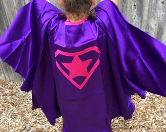 Purple and Pink Satin Super Hero Cape and Felt Mask Set