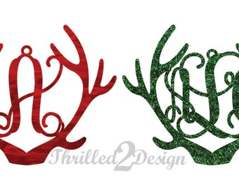 4 inch Reindeer Antler Ornaments Single Letter or Monogram Customized Acrylic -Initial Ornament, Christmas, Holiday