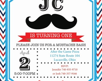 Mustache and Bow Tie Birthday Invitation