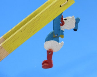 Vintage Wooden Donald Duck Flip Toy Trapeze Acrobat Wood Spinning Toy