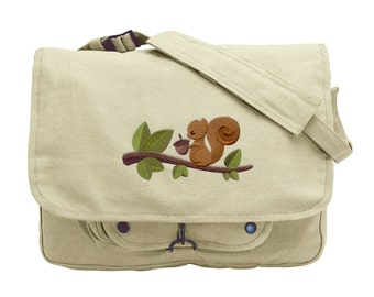 A Squirrel and His Nut Embroidered Canvas Messenger Bag