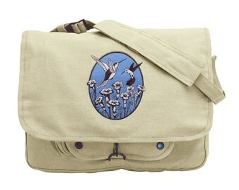 Spring Hummingbird Oval Embroidered Canvas Messenger Bag