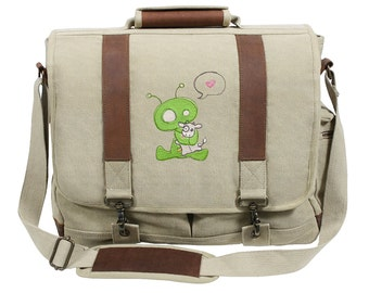 Abducted Alien Hugging a Cow Embroidered Canvas with Leather Accents Premium Laptop Bag
