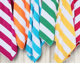 Personalized Egyptian Cotton Cabana Stripe Beach Towels
