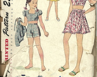 Sale Simplicity  2121    Children/Girls 3-Piece Play Suit    C1940's