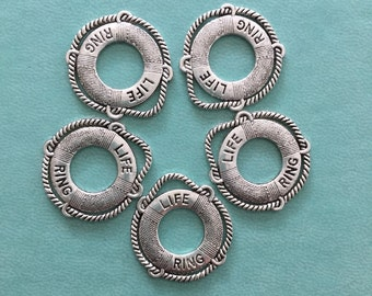 5 Life Ring, Lifebuoy, Life Preserver Charms, Antique Silver, L4