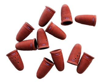 Molded Rubber Finger Cots Medium12 Pcs Natural Red Tips Hand Safety Protection Wa 600-027-2