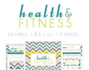 Health and Fitness Planner Printable, Editable, {SIZE LARGE 8.5 x 11} - Instant Download