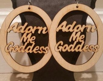 """Adorn Me Goddess Natural Wooden Earrings 3"""""""