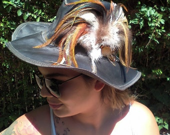 """Vintage leather hat with feathers,Size small, 20"""", Free shipping in the US"""