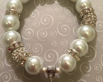 White Pearl  with Pave Balls Bracelet