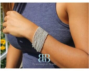 Sterling silver beads bracelet, silver beads bracelet,  sterling silver ball bracelet ,silver ball bracelet, stackable bracelet.
