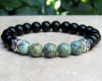 African Turquoise and Black Onyx Unisex Bracelet, Gemstone Stretch Bracelet, Yoga Bracelet, Mala Jewelry, Tibetan Men's Woman's Meditation