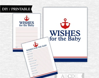 Instant Download Red, Navy Nautical Baby shower Game, Wishes for baby DIY Printable (PDNSI001)
