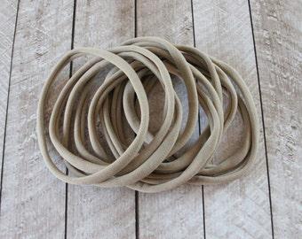 Nylon Headbands  - WHOLESALE NYLON headbands - Nude nylon headband - Skinny Hair Headband - Tan Headband - Beige Headband - Brown Headband
