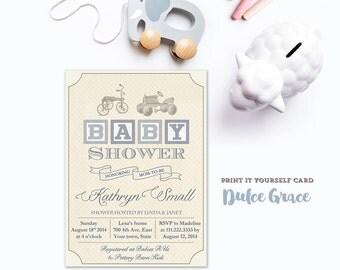 Vintage toys baby shower invitation, PRINTABLE baby boy shower invite, baby blocks shower invitation, blue taupe baby shower invitation