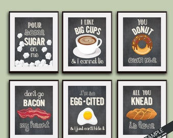 Sugar, Big Cups, Donut, Bacon, Egg, Knead (Funny Kitchen Song Series) Set 6 Art Prints (Featured in Vintage Chalkboard) Kitchen Art