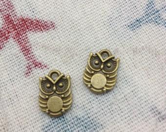 SALE 50 PCS 10x15mm Lovely The little owl Charm Pendant --Double owl Antique Bronze