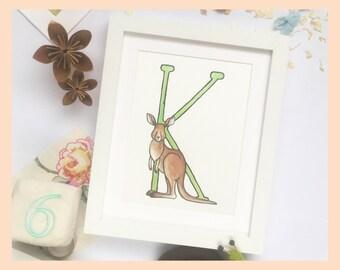 """K is for Kangaroo. Alphabet art 8""""x10"""" illustration print"""