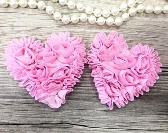 Set of 2 - Pink Shabby Chiffon Heart - Valentines hearts - Valentine's day chiffon heart- Pink chiffon heart - Shabby Chic Heart Appliqués