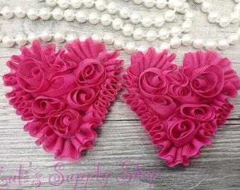 Set of 2 - Hot Pink Shabby Chiffon Heart - Valentines hearts - Valentine's day chiffon heart- chiffon heart - Shabby Chic Heart Appliqué