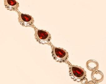 """Beautiful Garnette Quartz Bracelet / Handmade Bracelet / 925 Sterling bracelet / Gemstone Bracelet / Silver Bracelet / 7-8"""""""